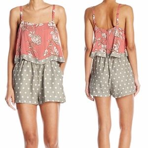 MINKPINK Lovina Pink Gray Playsuit Romper Pockets